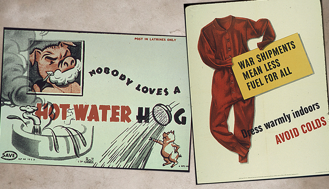 item 4 of Gallery image - two historical posters on the left is an illustration of a pig taking a shower with the text nobody loves a water hog and on the right is a set of long underwear with the text was shipments mean less fuel for all dress warmly indoors to avoid colds