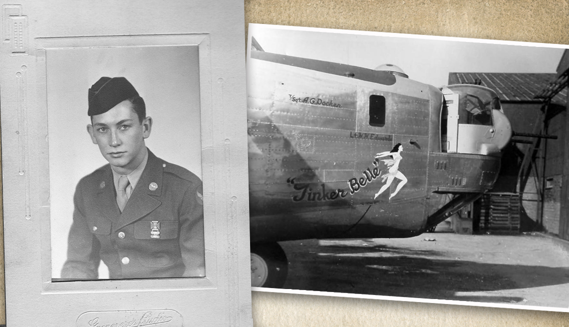 item 6 of Gallery image - two old world war two photos one of a solider in uniform and the other of the front of a bomber plane name tinker belle