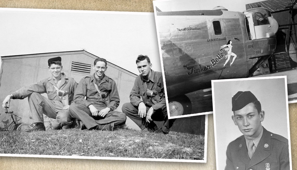 three old photos from world war two collaged one is three soldiers another is the front of a bomber plane named tinker belle and the last is a single soldier portrait