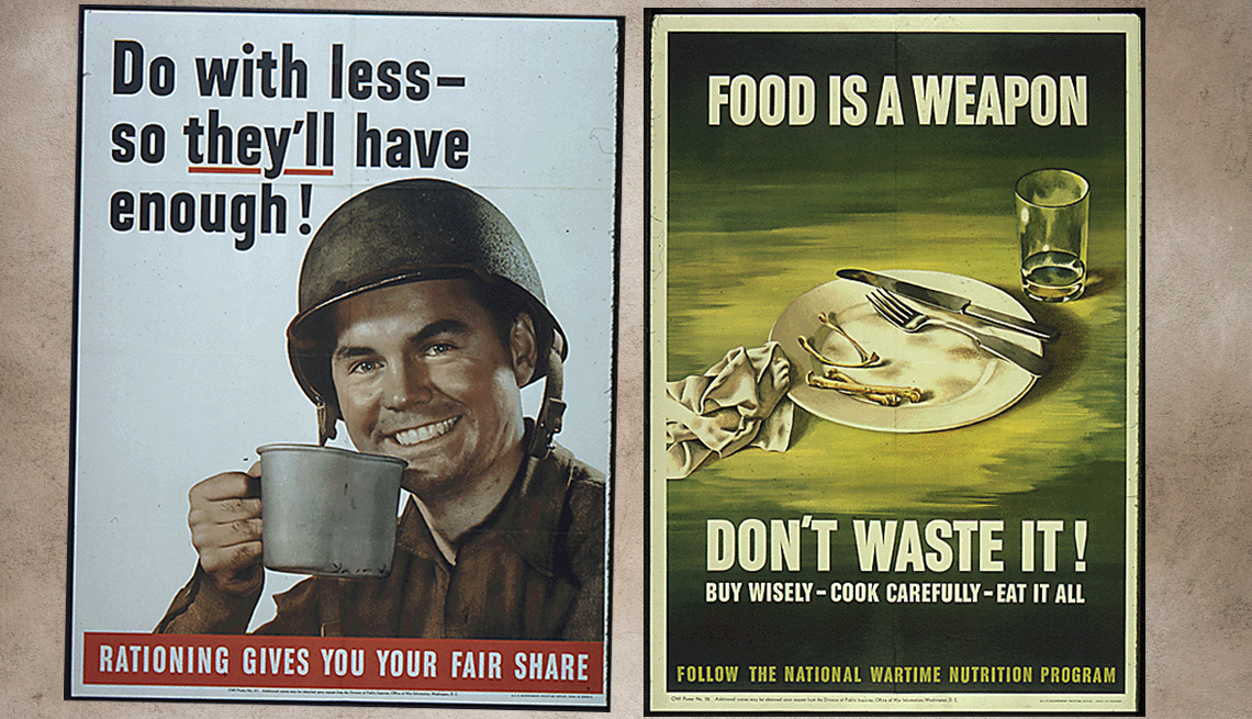 item 3 of Gallery image - world war two era posters the left one says do with less so they will have enough with an image of a soldier holding a cup and the one of the right shows an empty plate cleared of its contents and says food is a weapon do not waste it