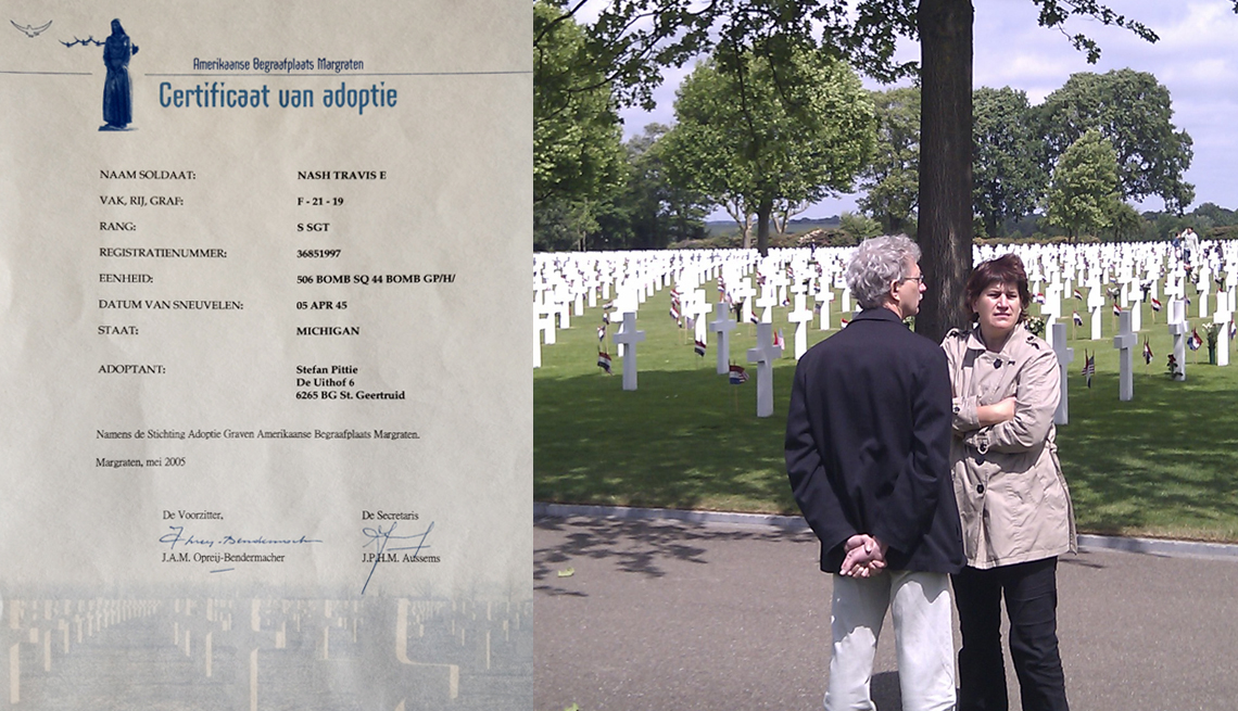 item 8 of Gallery image - two images one of a dutch grave adoption certificate and another of a couple standing in a military cemetery full of white crosses