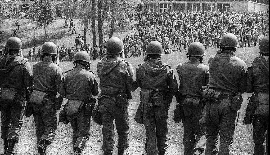The national guard heads toward protestors at Kent State University