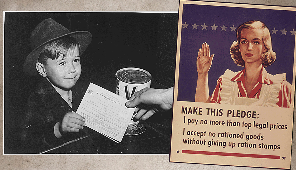 item 1 of Gallery image - two historical images the first is a young boy receiving a can of v 8 in exchange for his ration card and the other is a poster promoting good rationing practices