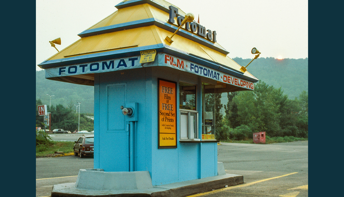 item 4 of Gallery image - old photo of a colorful fotomat kiosk in a parking lot back in nineteen eighty three
