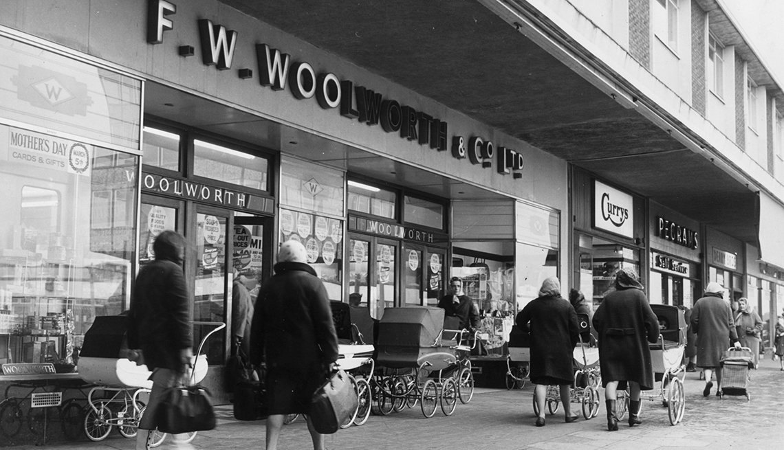 item 7 of Gallery image - nineteen sixty seven photo of a f w woolworth store facade with shoppers walking in front of it on the sidewalk
