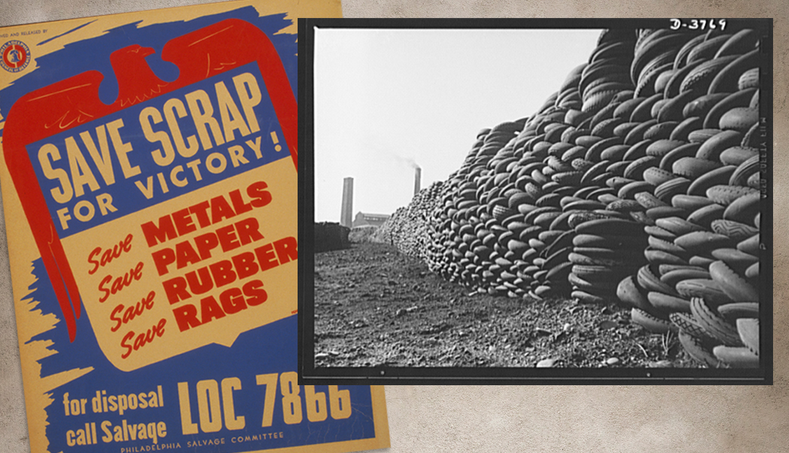 item 5 of Gallery image - two historical images are shown the first is a save scrap for victory poster and the other is large stacks of tires from a rubber reclamation project