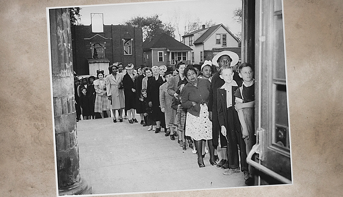 item 2 of Gallery image - historical photo of a sugar rationing line during world war two times