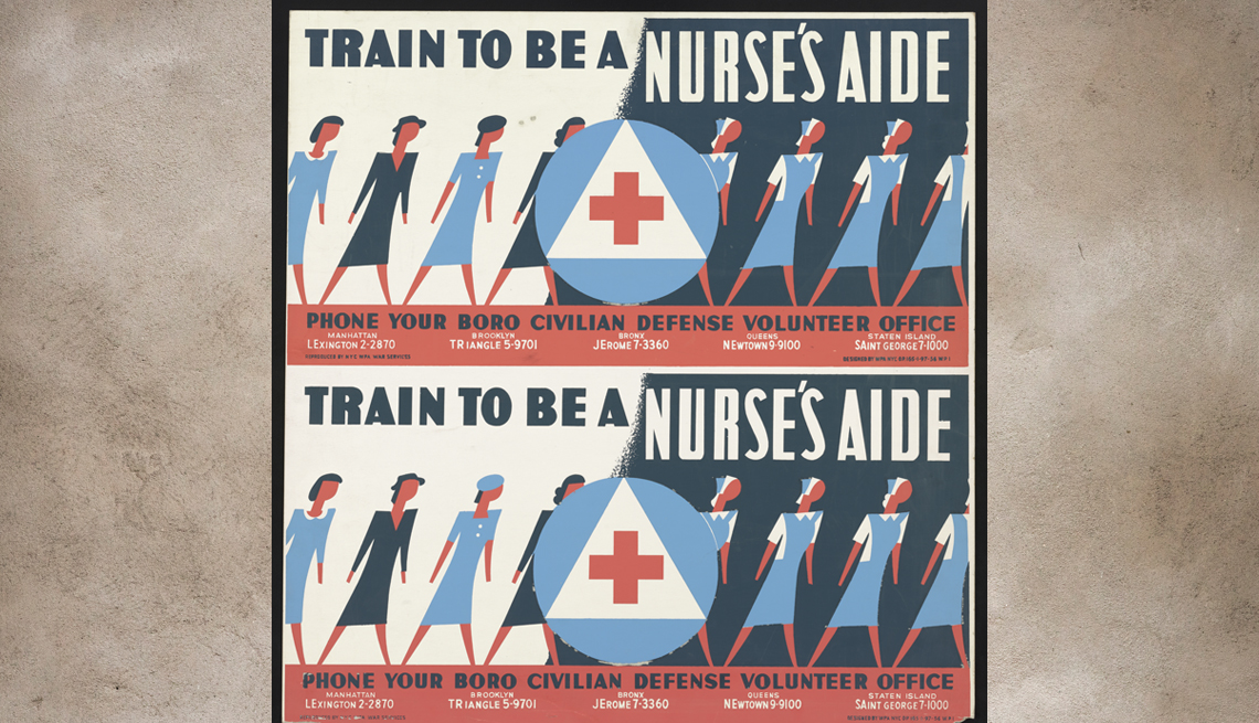 item 7 of Gallery image - poster from world war two advertising that nurses aides are needed