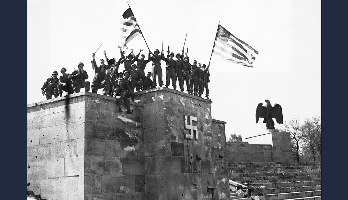 item 6 of Gallery image - black and white photo of u s troops gathering on top of rostrum in germany at he end of world war two