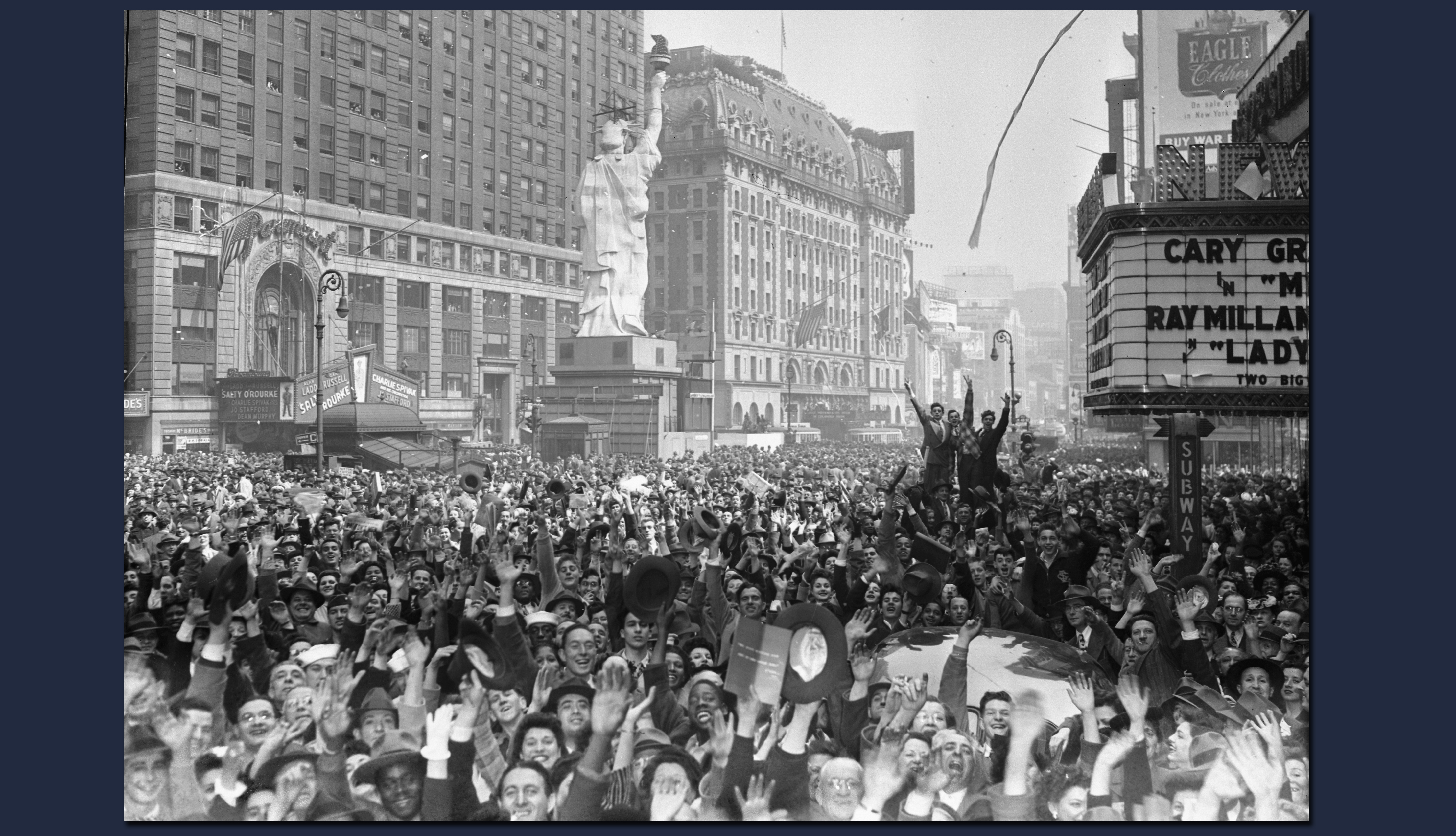 item 8 of Gallery image - a huge crowd of jubilant people gathers in a new york city street in this black and white photo from nineteen forty five