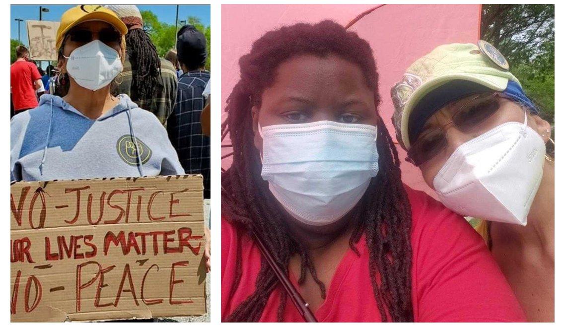 Dos imágenes de Elizabeth Palacio, en una protesta en la calle, donde usa mascarilla