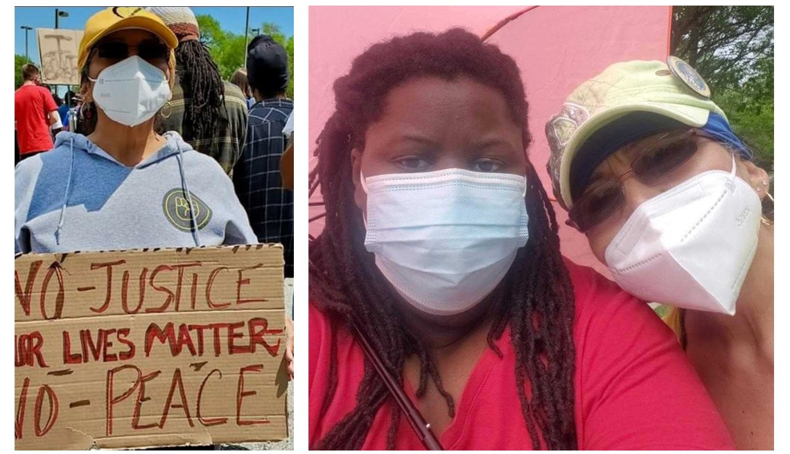 two images of elizabeth palacio attending protests and wearing a covid face mask in one she is holding a sign that says no justice no peace black lives matter and in the other she is under and umbrella with a friend