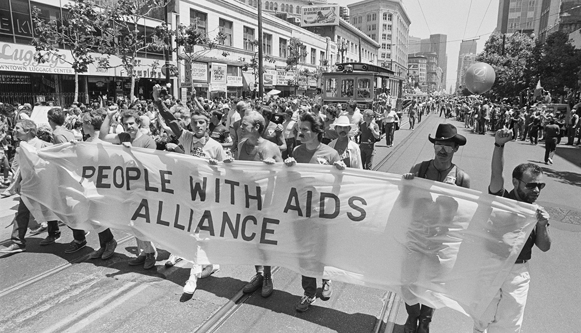 """People With Aids,"" March in gay parade. b/w photograph."