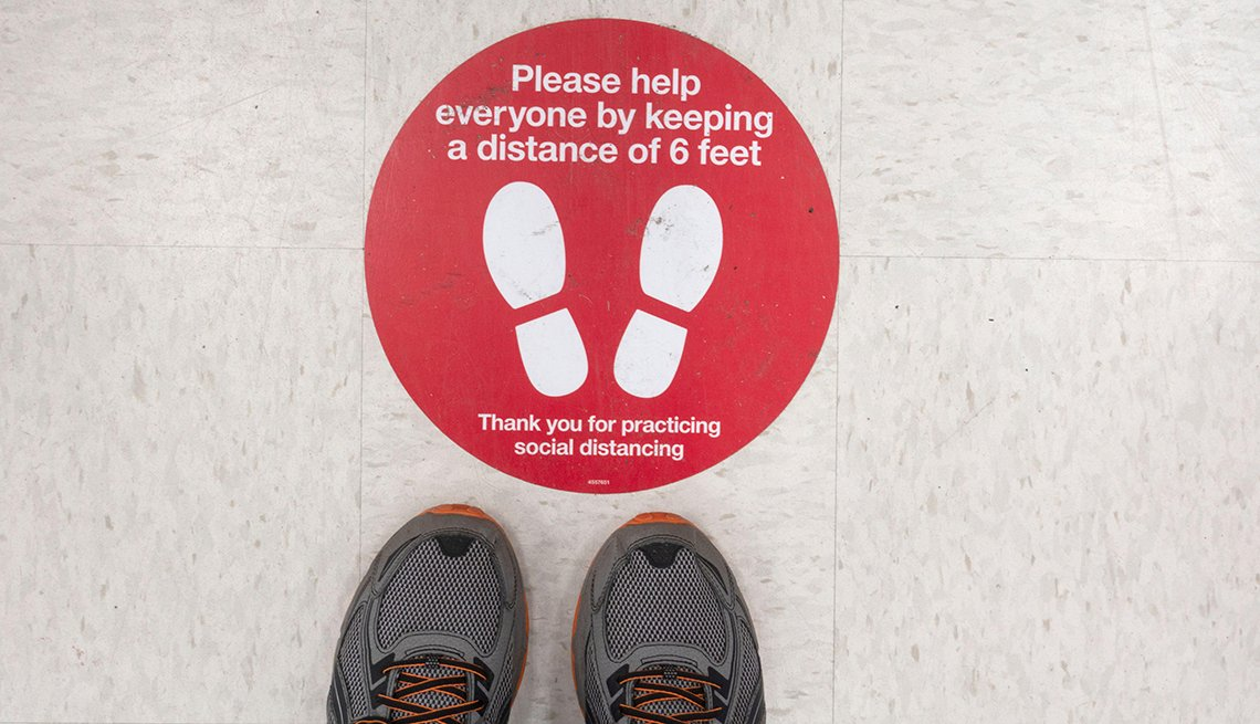 item 5 of Gallery image - social distancing floor sign in a retail store