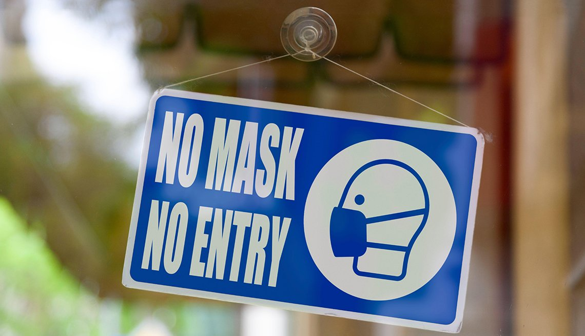 item 6 of Gallery image - store window sign saying no mask no entry