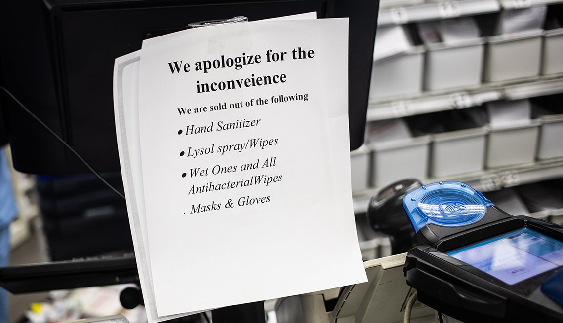 item 1 of Gallery image - signs taped to a cash register terminal in a store saying the store is sold out of items