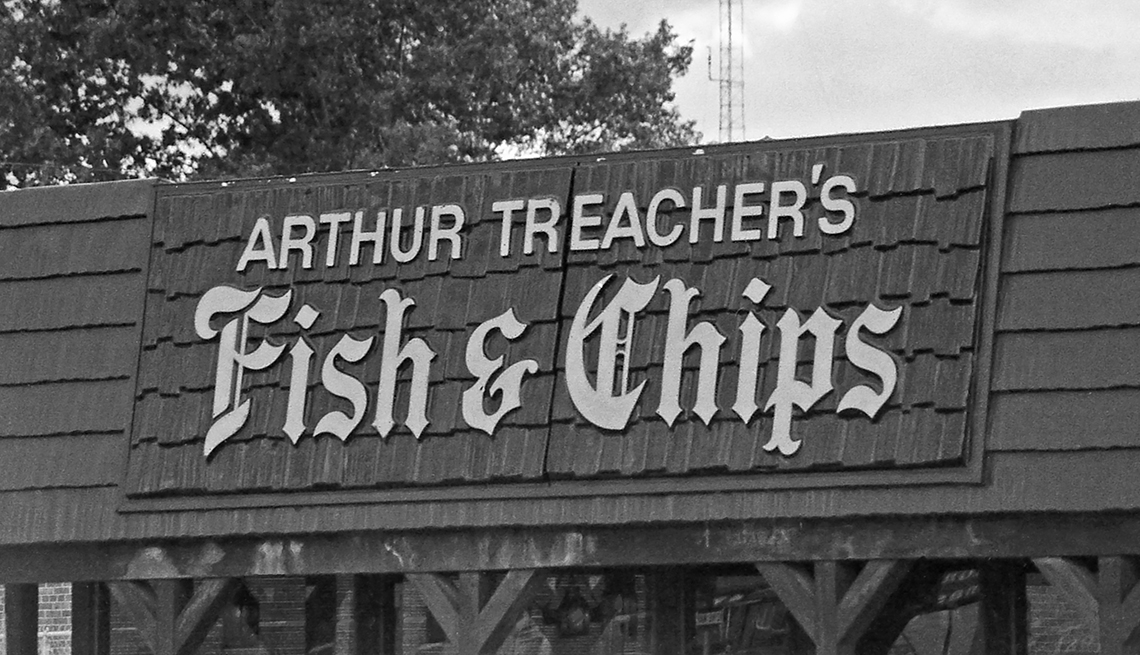 item 10 of Gallery image - historial photo of the sign on top of an arthur treachers fish and chips restaurant
