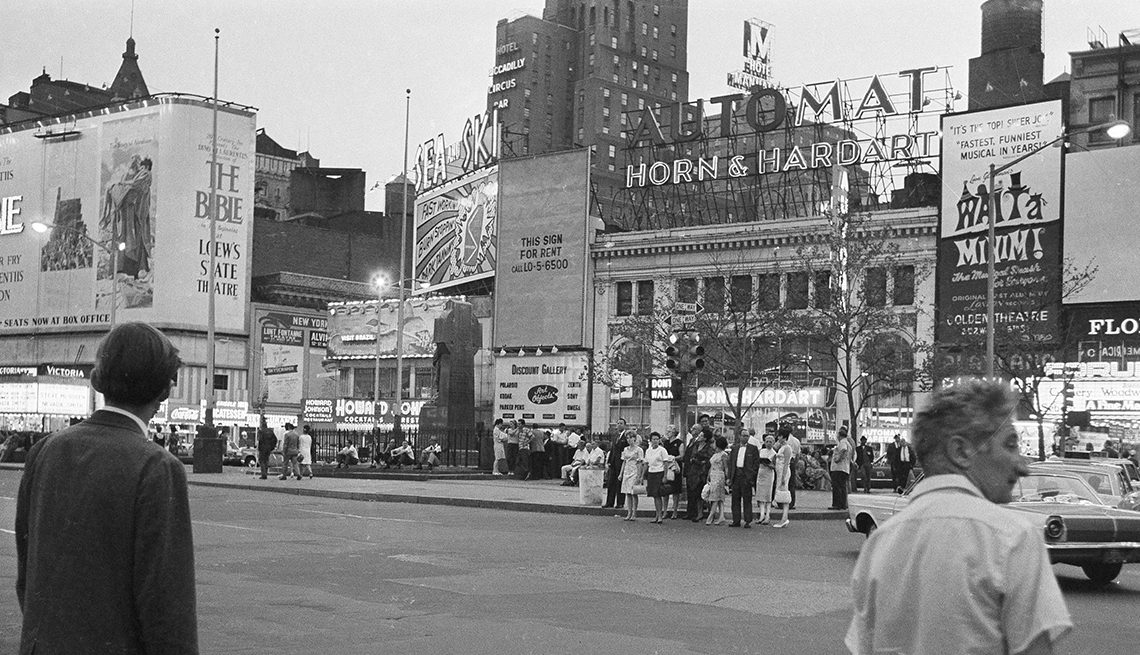 item 12 of Gallery image - historial photo from nineteen seventy one taken of times square that shows a horn and hardart automat across the street