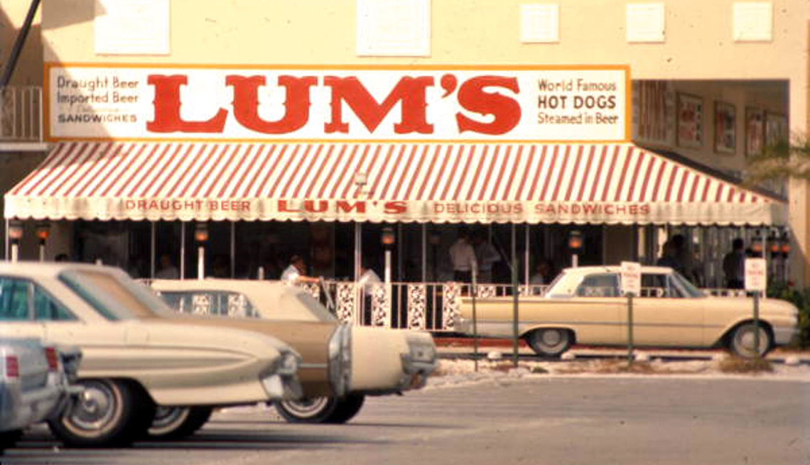 item 9 of Gallery image - historical photo of a lums hot dogs. restaurant storefront