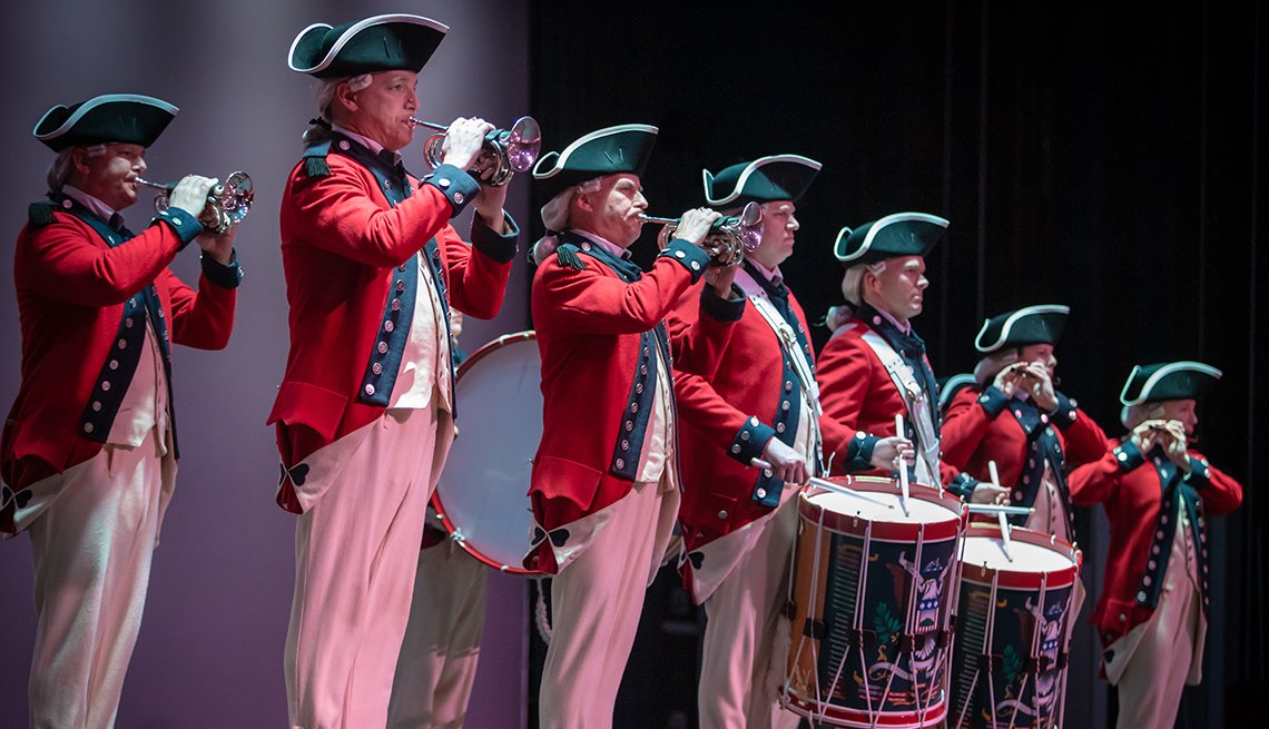 united states army old guard fife and drum corps performs onstage