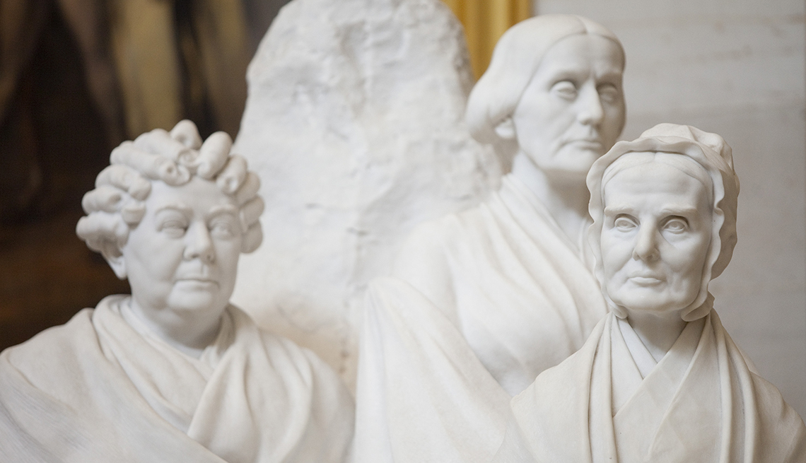 item 4, Gallery image. The monument to Lucretia Mott, Elizabeth Cady Stanton, and Susan B. Anthony sits in the Capitol Rotunda in Washington, D.C.