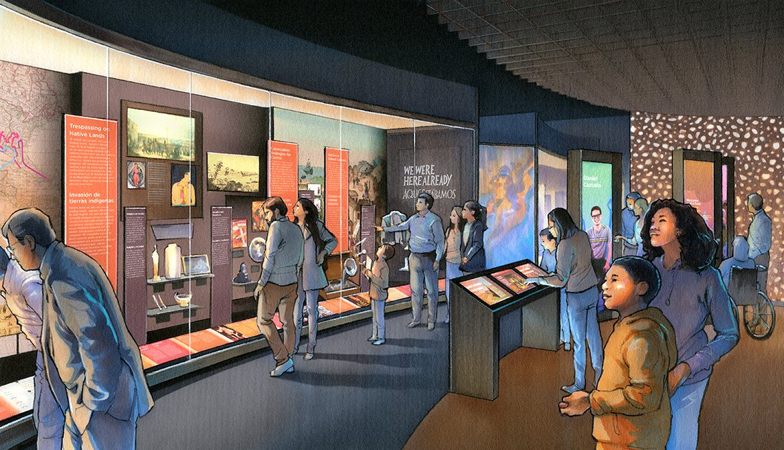Una ilustración muestra a un grupo de personas en una exhibición en el museo