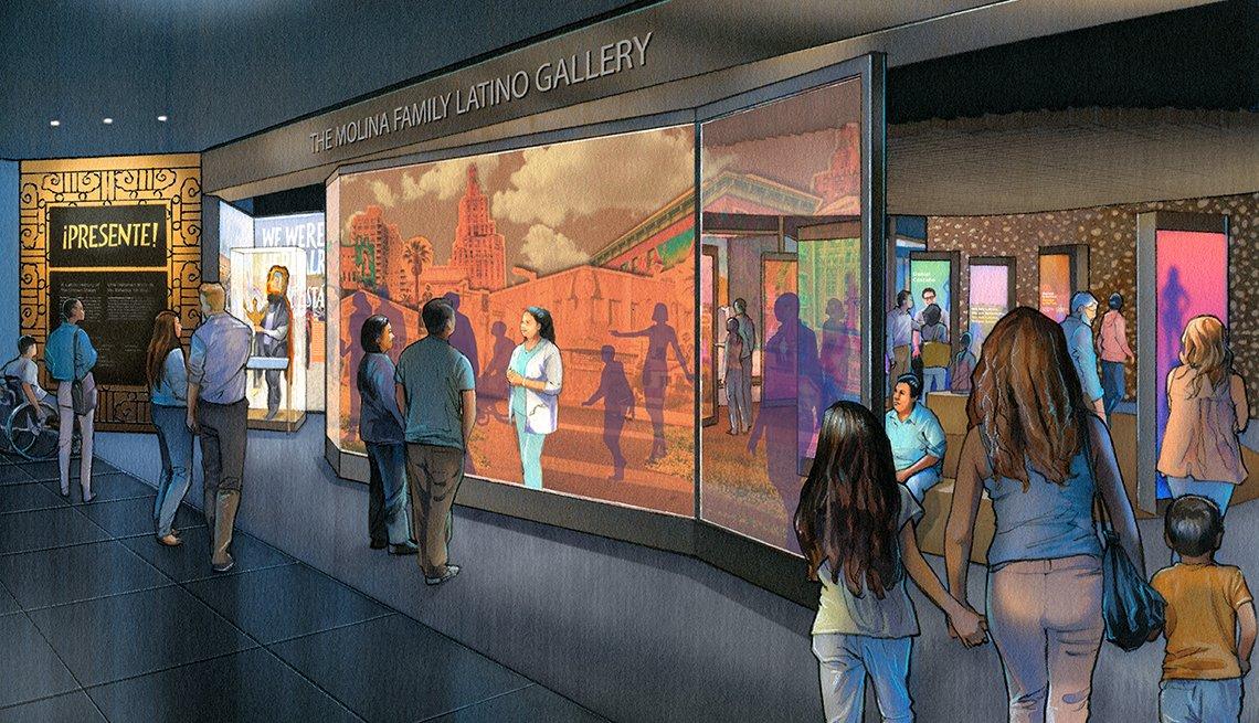 Una ilustración muestra varias personas en una exhibición en el museo