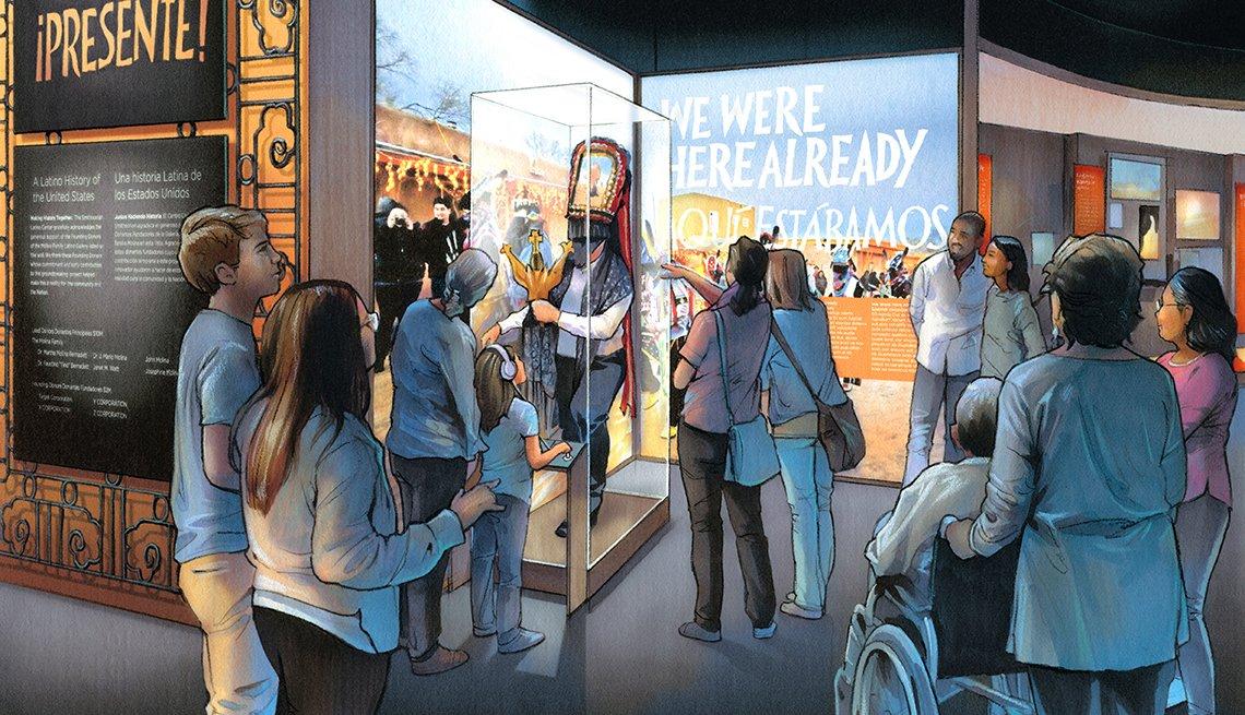 Gráfica muestra a un grupo de personas que observan una exhibición en un museo