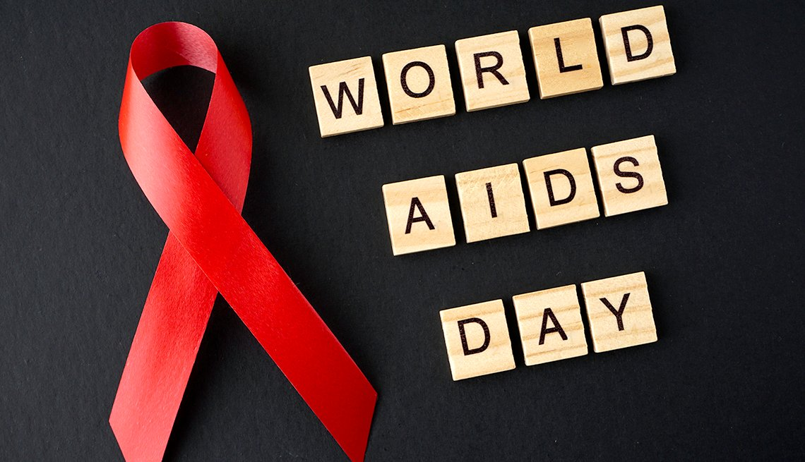World AIDS Day with a red ribbon