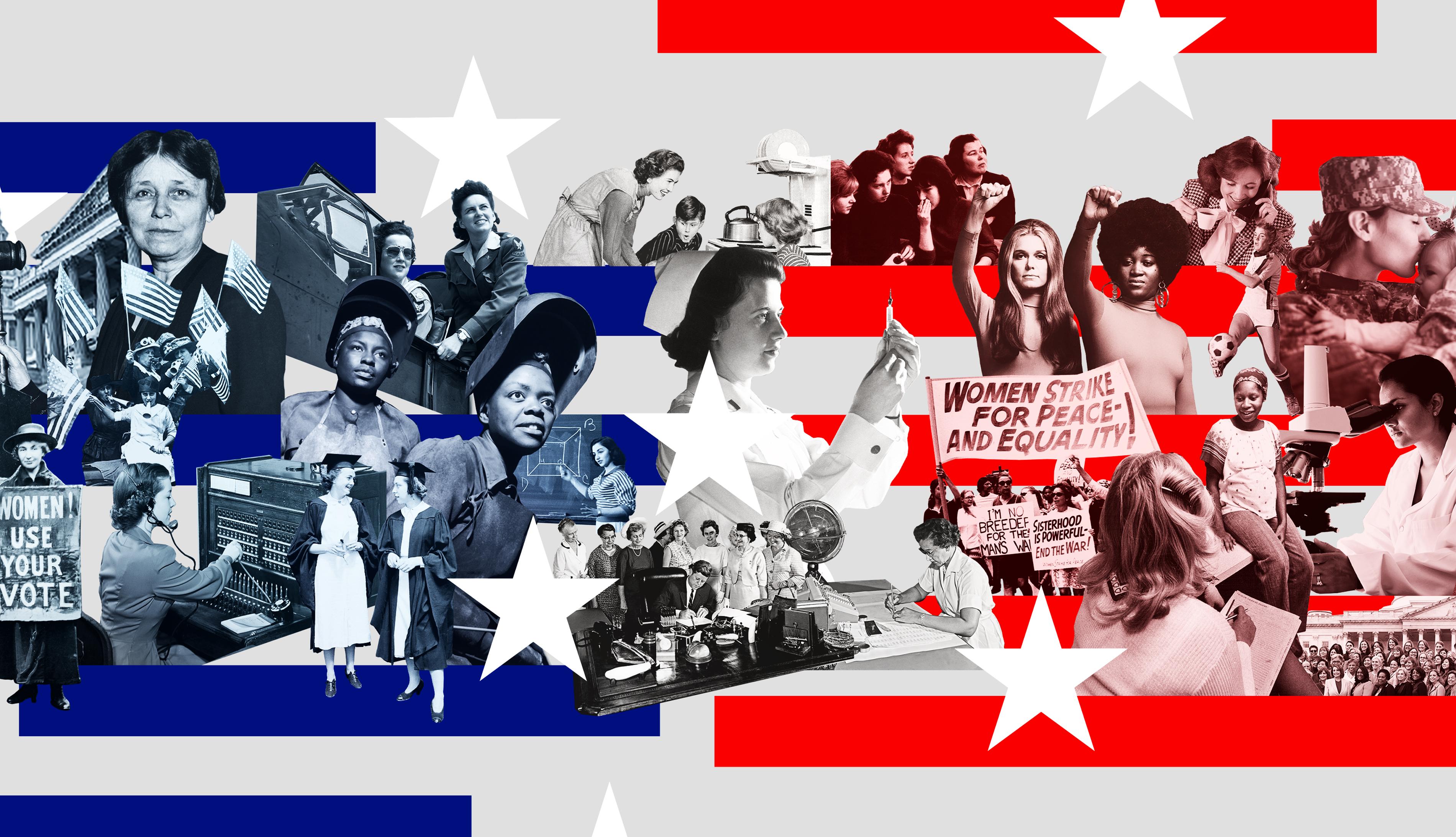 Collage de fotos históricas de mujeres innovadoras con elementos de la bandera americana de EEUU, todo en rojo, blanco y azul.