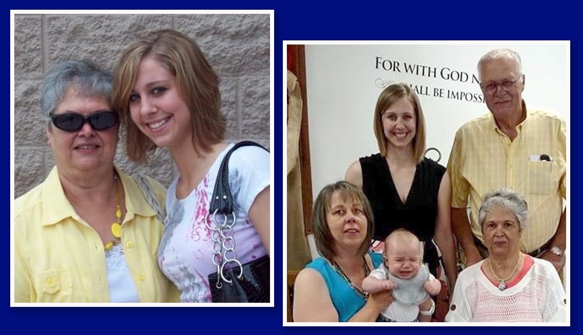 colleen loken with granddaughter katharine riffe and another image of the entire fmaily including joan maxwell