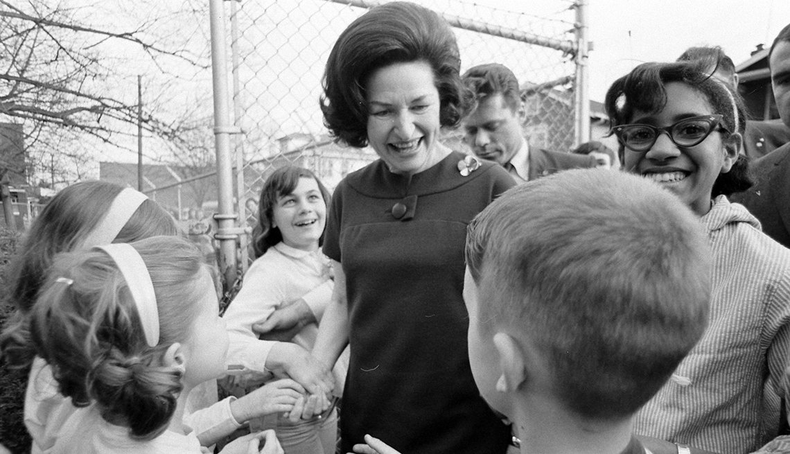 item 1 of Gallery image - Children greet Lady Bird Johnson