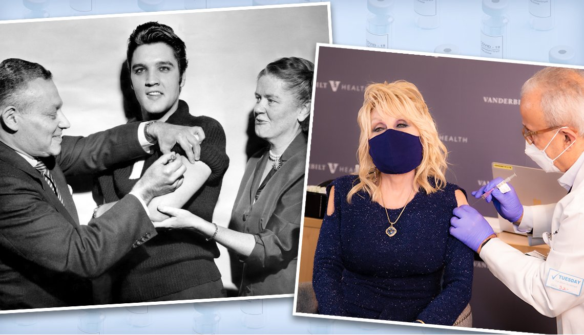 old photo of elvis presley getting a polio vaccination and a recent pic of dolly parton getting a covid vaccine
