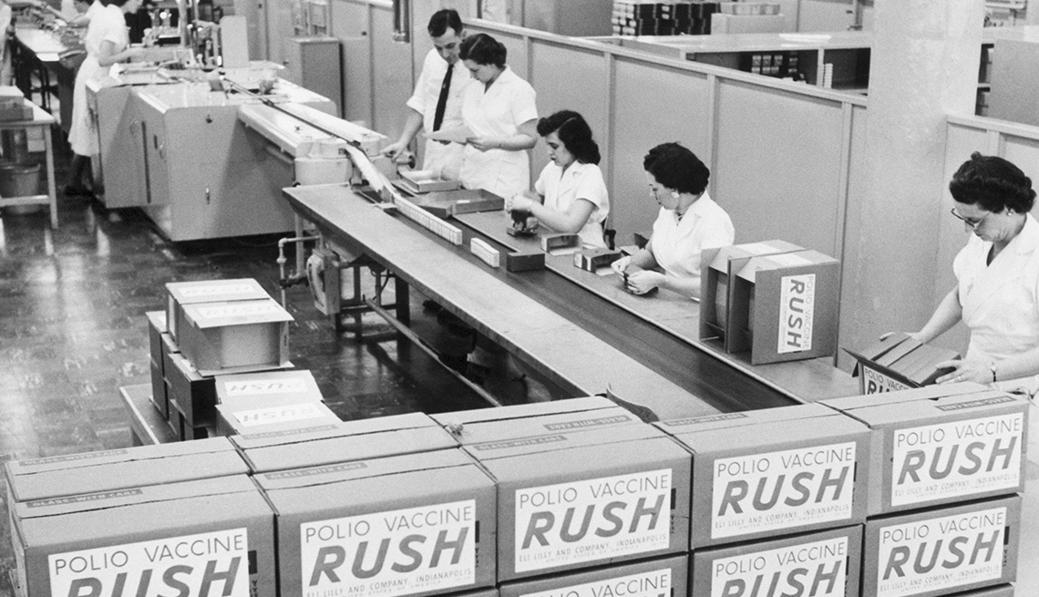 item 1 of Gallery image - workers in a polio vaccine packing plant in nineteen fifty six
