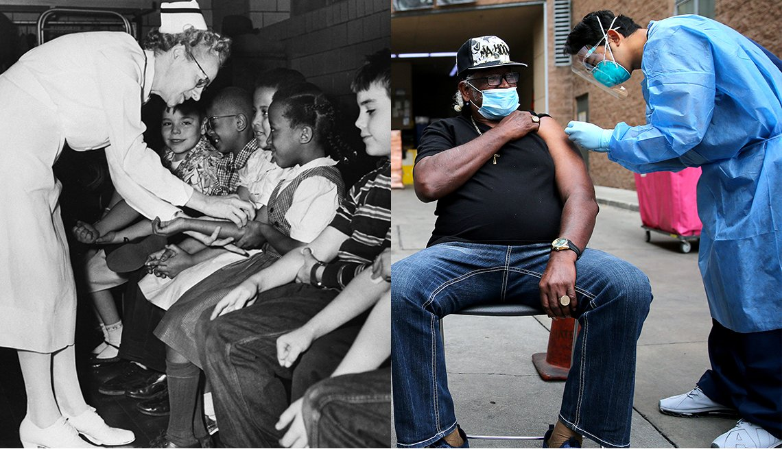 on the left is an image of schoolchildren being vaccinated for polio in the nineteen fifties and on the right is an image of a man in his early seventies getting a covid vaccine current day