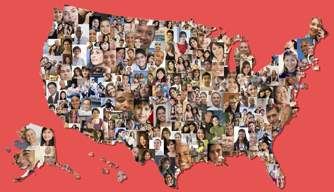 Mapa de Estados Unidos compuesto por fotos de caras de personas