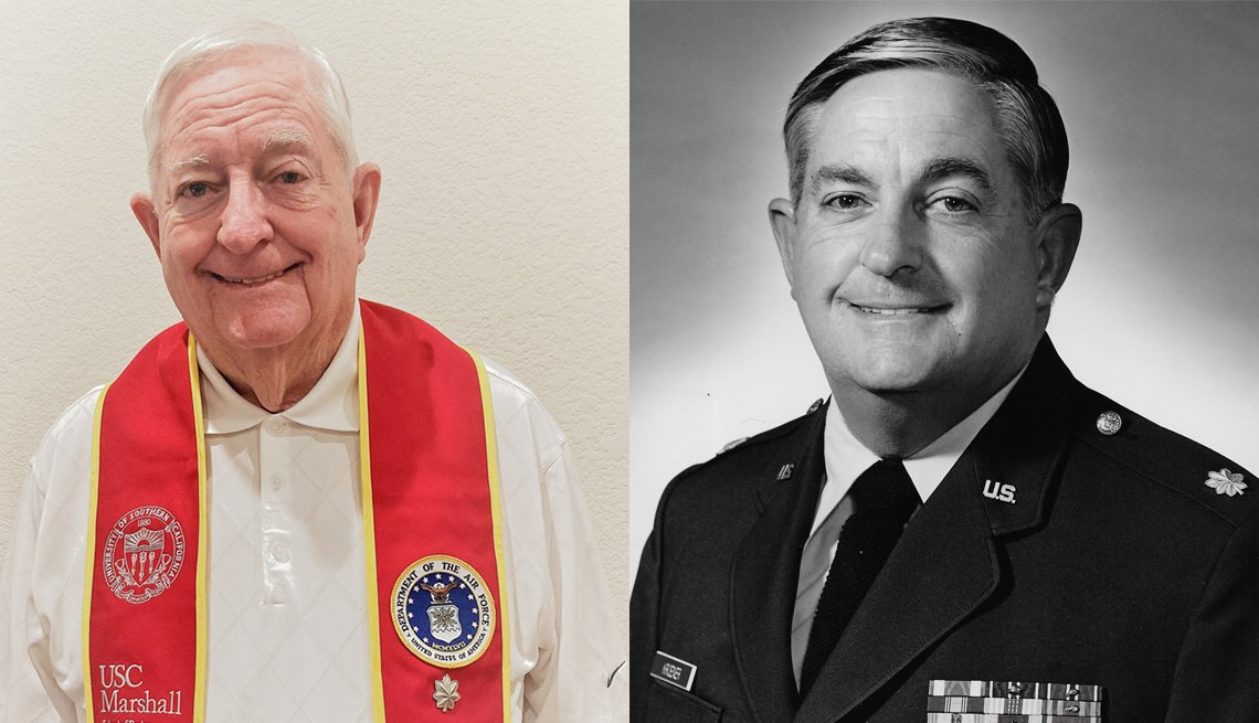 a photo of bob kroener at his commencement ceremony left next to a photo of him in military uniform fifty years earlier right