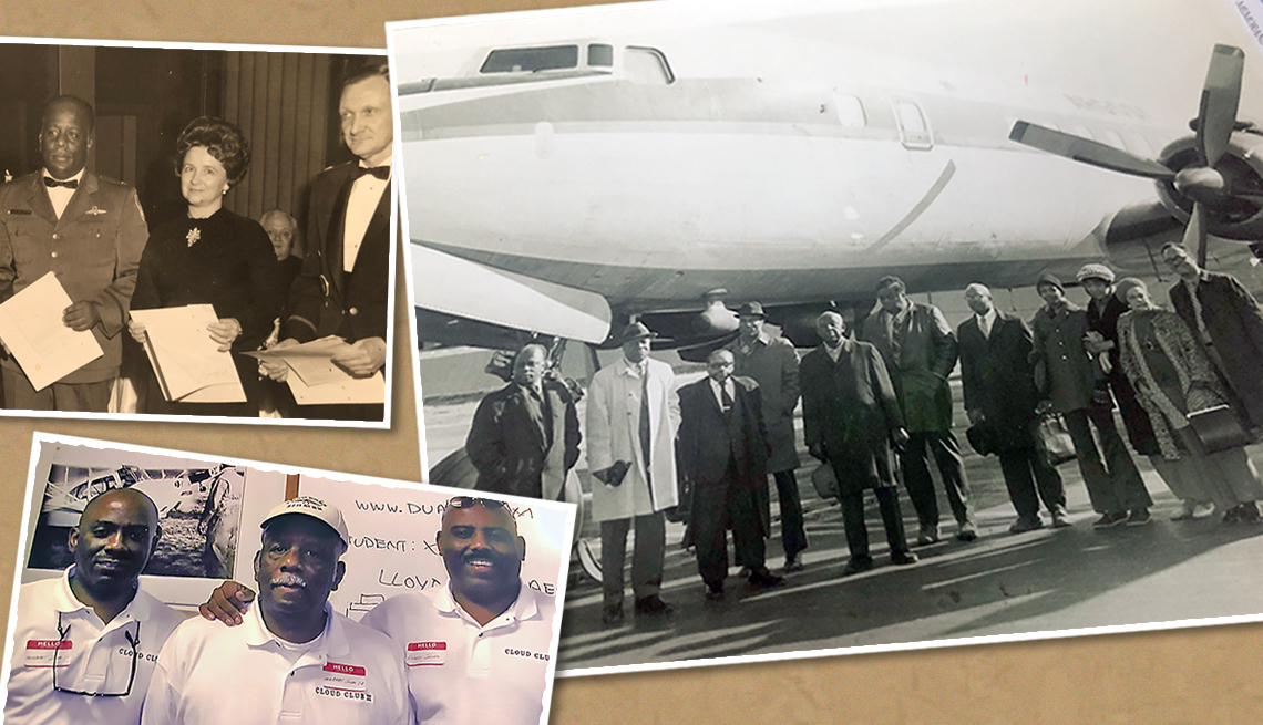 three images from the career of herbert jones first at a ceremony honoring him as director of flight operation and training of the civil air patrol second in front of an aircraft as president of the international air association board of directors and thi