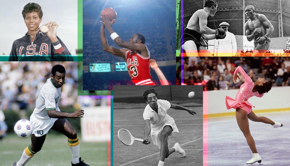 a collage of black athletes from top left wilma rudolph michael jordan jack johnson pele althea gibson debi thomas
