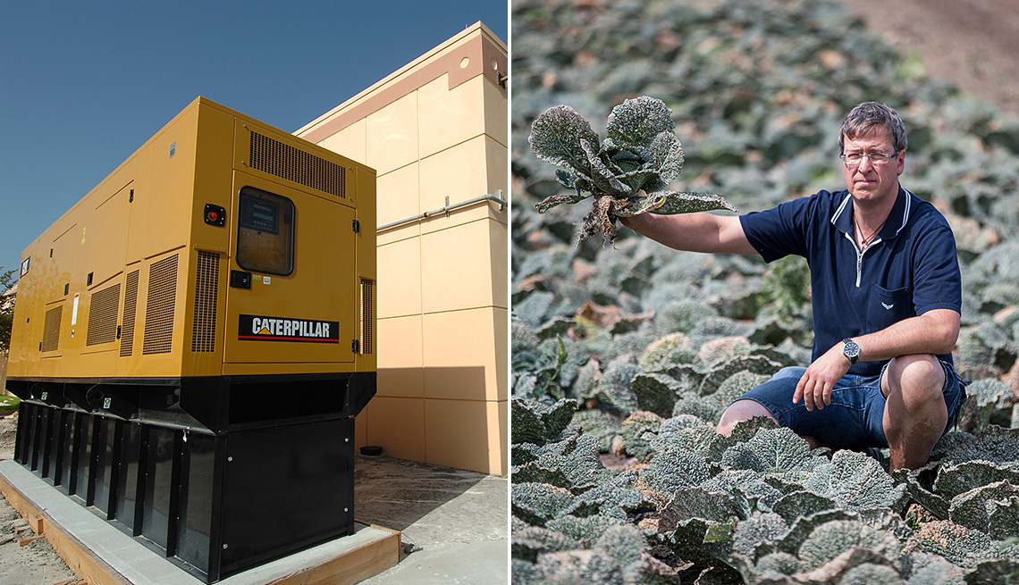 two images a backup generator behind a grocery store in florida and a farmer showing his drought ruined crop