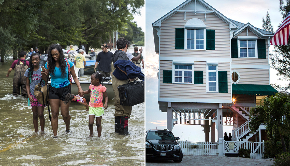 two images one of people being rescued from flooding and another of a house built on stilts