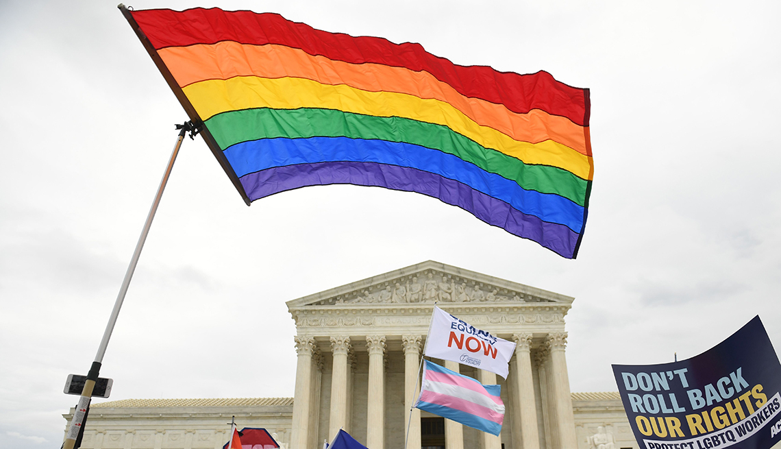 item 9 of Gallery image - demonstrators for l-g-b-t-q rights protest outside of the supreme court with a rainbow flag