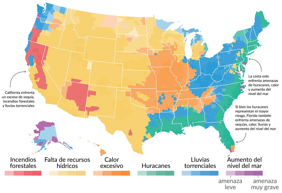 Mapa muestra los efectos del cambio climático en EEUU