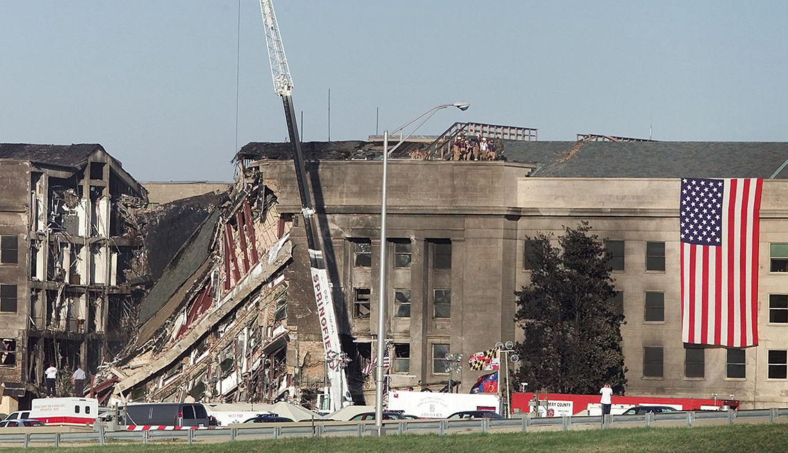 the damaged pentagon outside of washington d c on september twelfth two thousand and one