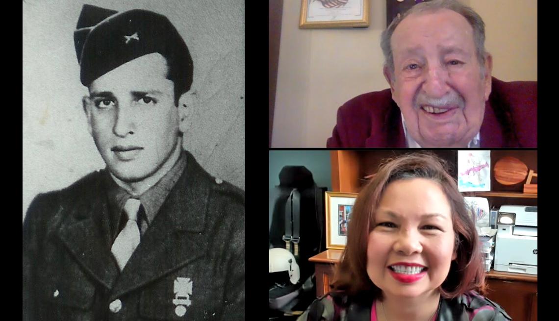 Una foto de Bob Levine con uniforme militar y dos capturas de pantalla de su llamada en Zoom con Tammy Duckworth