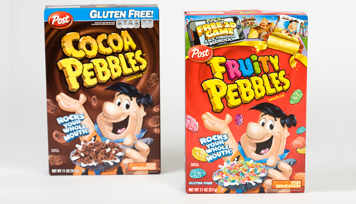 cocoa and fruity pebbles breakfast cereal boxes