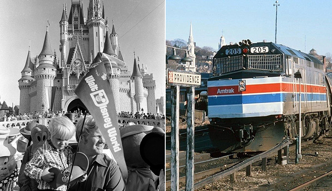 two historical images opening day of walk disney world and an amtrak train from the early seventies