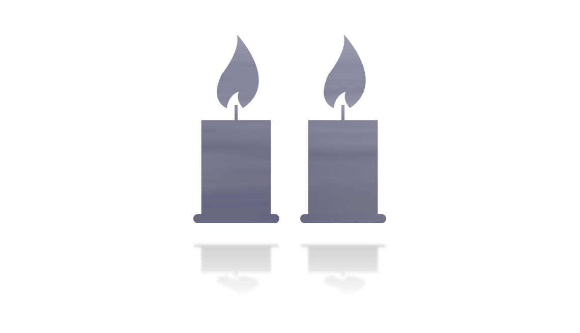 icon of two candles to represent memorials