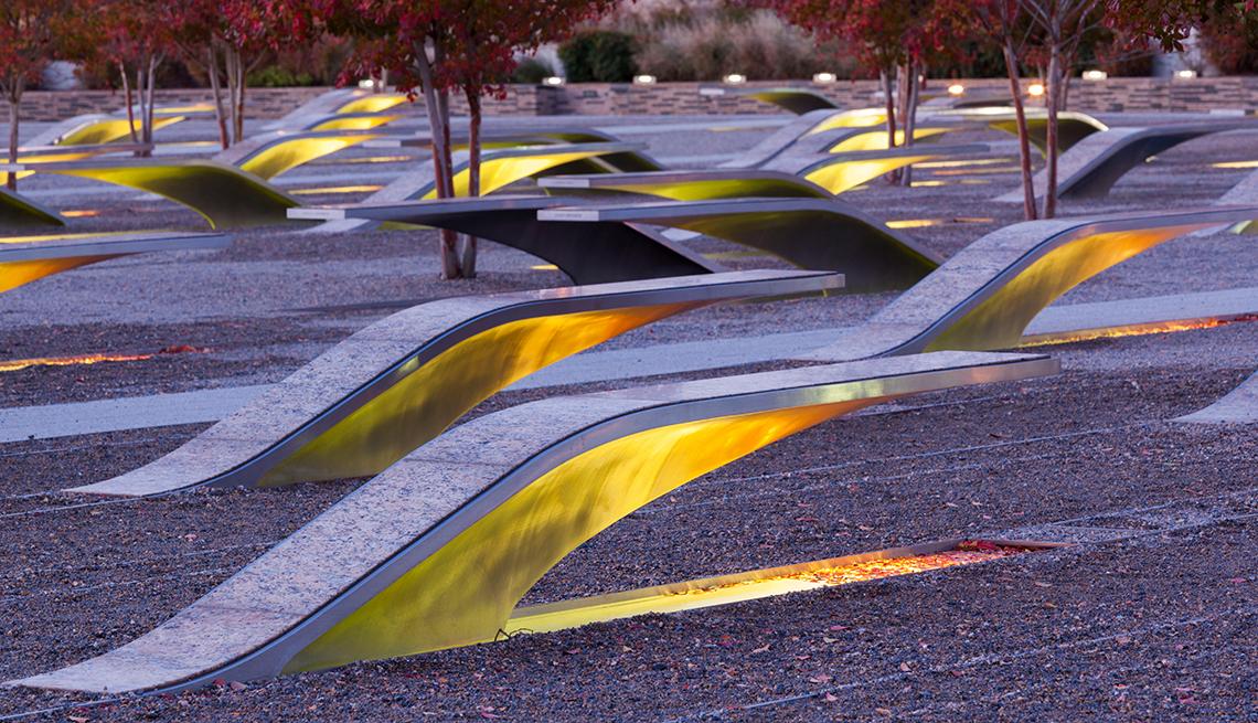 the nine eleven pentagon memorial benches illuminated around dawn