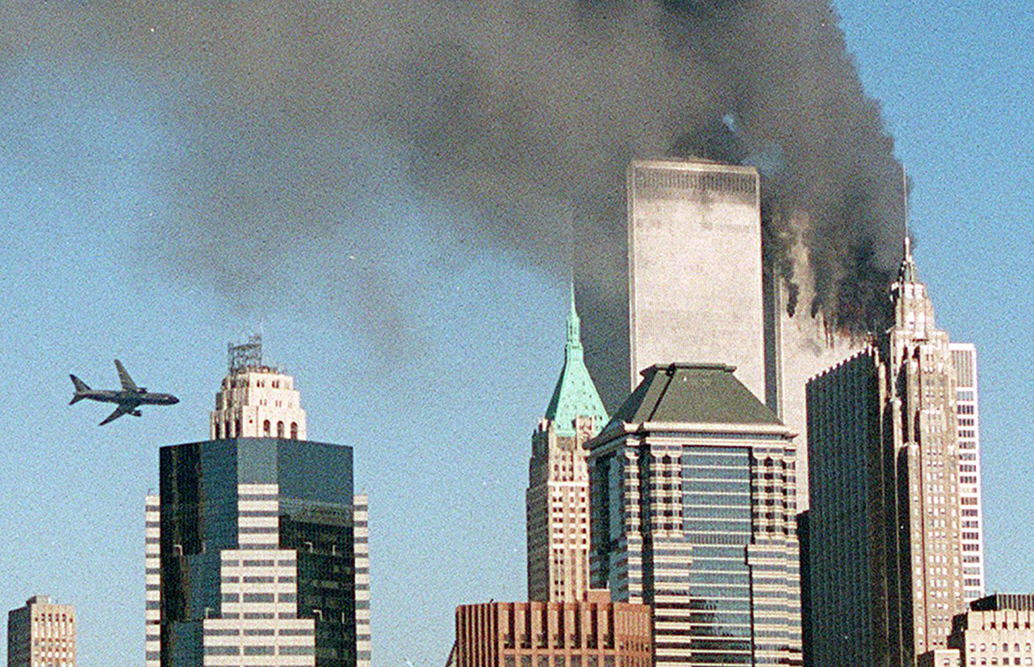 the second plane is about to strike the world trade center on september eleventh two thousand one